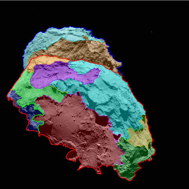 zones de la comète 67P/Churyumov-Gerasimenko